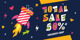 Vector illustration on the subject of sales kids store. Royalty Free Stock Image