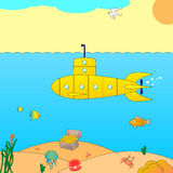 Vector illustration of a submarine at sea Stock Photos