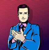 Vector illustration of successful businessman applause in vintage pop art comics style. Likes and positive feel. Gesture Stock Photos
