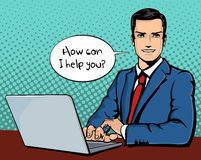 Vector illustration of successful businessman with computer in pop art comics retro style or cartoon style casting Royalty Free Stock Photography