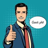 Vector illustration of successful businessman gives thumb up in vintage pop art comics retro style. Likes and positive Stock Images