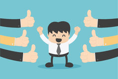 Vector illustration of a successful businessman many hands thum. Bs up eps.10 stock illustration