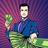 Vector illustration of successful businessman smiling counting money dollars, smirking in pop art comics retro style or Stock Image