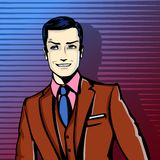 Vector illustration of successful businessman smiling, smirking in pop art comics retro style or cartoon style casting. Shadow, Halftone. Conception of charm Stock Photos
