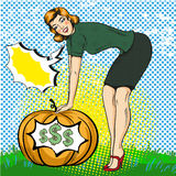 Vector illustration of successful woman in retro pop art style. Vector illustration of successful business woman and big pumpkin with dollar signs inside of it Stock Photos
