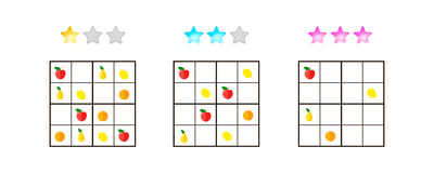 Vector illustration. Sudoku for kids with pictures at different Stock Image