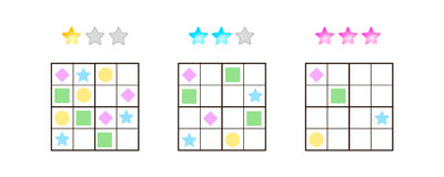 Vector illustration. Sudoku for kids with pictures at different Stock Photo