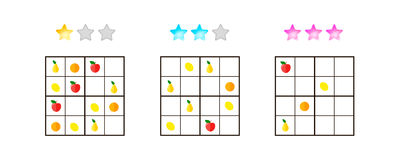 Vector illustration. Sudoku for kids with pictures at different Royalty Free Stock Image