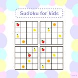 Vector illustration. Sudoku for kids with pictures. Logic game f Stock Photo