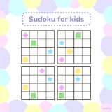 Vector illustration. Sudoku for kids with pictures. Logic game f Stock Photography