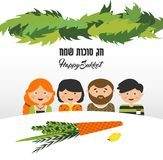 Vector illustration of a Sukkah decorated with ornaments for the Jewish Holiday Sukkot.  Stock Photography