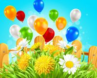Summer background daisies and dandelions in the grass. Vector illustration of summer background with ballons, camomile and dandelions in the grass Stock Photos