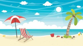 Vector Illustration Of Summer Beach Background. Eps 10 Royalty Free Stock Photos