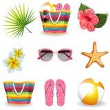 Beach summer elements set. Vector royalty free illustration