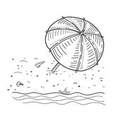 Vector illustration of summer beach sketch Royalty Free Stock Photography