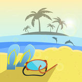 Vector illustration, summer beach, slippers and Royalty Free Stock Photography