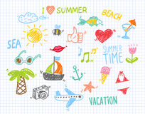 Vector Illustration of Summer Children's Drawings Royalty Free Stock Images