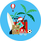 Vector illustration of summer holiday on blue background. Royalty Free Stock Photo