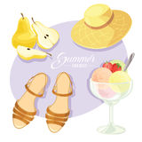 Vector illustration of summer holiday motive. Stock Photo