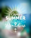 Vector illustration on a summer holiday theme on blurred background Royalty Free Stock Photos