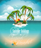 Vector illustration on a summer holiday theme with paradise island. Stock Photos