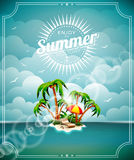 Vector illustration on a summer holiday theme with paradise island on sea background. Vector illustration on a summer holiday theme with paradise island on sea royalty free illustration