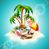 Vector illustration on a summer holiday theme Royalty Free Stock Image
