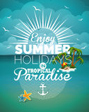 Vector illustration on a summer holiday theme on seascape background Royalty Free Stock Photos