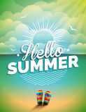 Vector illustration on a summer holiday theme on seascape background Stock Image