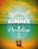 Vector illustration on a summer holiday theme on seascape background Stock Images