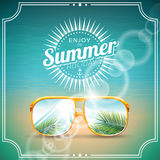 Vector illustration on a summer holiday theme with sunglasses. Stock Photo