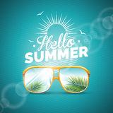 Vector illustration on a summer holiday theme with sunglasses on blue background Stock Image