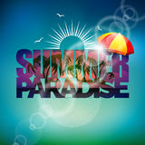 Vector illustration on a summer holiday theme with sunshade on blurred background Royalty Free Stock Images