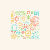 Vector illustration with summer icons Royalty Free Stock Image