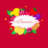 Vector illustration. Summer inscription in a frame of fruits and berries on a bright red background.  Royalty Free Stock Photo