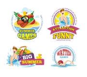 Vector illustration of summer labels stock illustration
