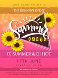 Vector illustration of summer party poster with triangle frame and sunflower flowers and hand lettering text - summer Royalty Free Stock Images