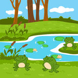 Vector illustration (summer pond in the woods). 6 green color for children Royalty Free Stock Image
