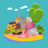 Vector illustration of summer recreation. Family picnic and camping in a park flat icons Stock Photos