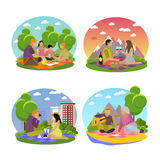 Vector illustration of summer recreation. Family picnic and camping in a park flat icons Royalty Free Stock Photography