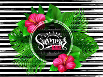 Vector illustration of summer sale banner with hand lettering text surrounded with hibiscus flower and tropical leaves - Stock Photo