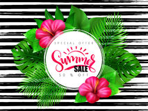 Vector illustration of summer sale banner with hand lettering text surrounded with hibiscus flower and tropical leaves - Stock Photography