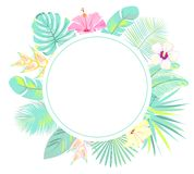 Tropical exotic background with palm leaves. Pink frame. Vector vector illustration