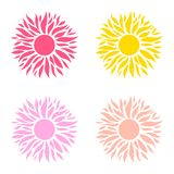 Summer set  of sun. Colorful sun template royalty free illustration