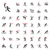 Vector illustration of summer sport games. Black simple summer sport games icons on white background. Elements for company logos, print products, page and web Royalty Free Illustration