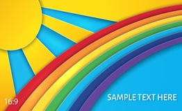 Vector illustration of Summer sun with clouds and rainbow background stock illustration