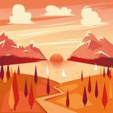 Vector illustration of summer sunset Royalty Free Stock Photo