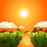 Vector illustration of summer sunset icon. On white background Created For Mobile, Infographics, Web, Decor, Print Products, Applications. Icon . Vector Royalty Free Illustration