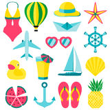 Vector illustration of summer symbols ans objects Stock Image