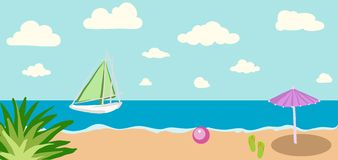 Vector illustration of Summer tropical banner Stock Photo